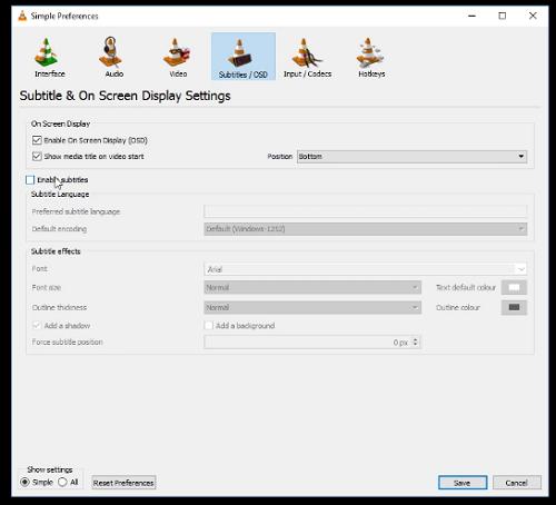 تنظیمات زیرنویس را در VLC بررسی کنید