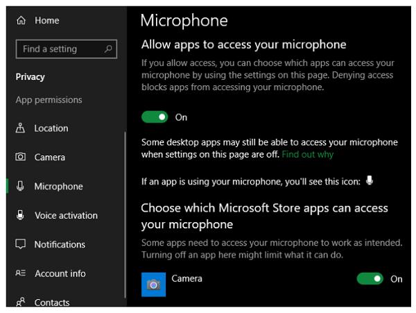 تأیید کنید که برنامه ها می توانند به میکروفون شما دسترسی پیدا کنند