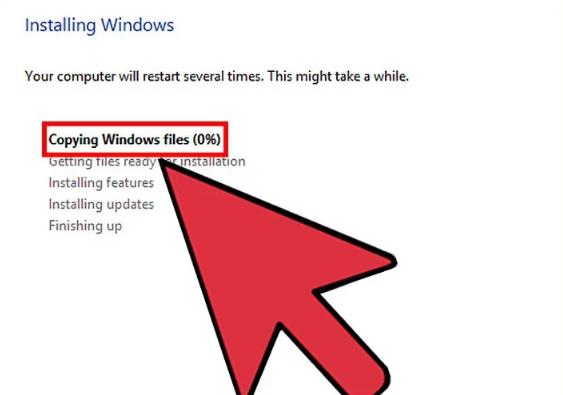 برای نصب ویندوز دستورالعمل ها را دنبال کنید