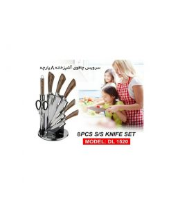 سرویس چاقو آشپزخانه دلمونتی مدل DL1520 طرح چوب